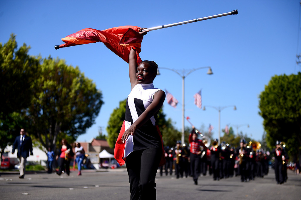 Description of . Valley View High School's Crimson Regiment performs in City of Duarte's annual Route 66 Parade along Huntington Drive, on Saturday, September 28, 2013. (Photo by Sarah Reingewirtz/Pasadena Star-News)