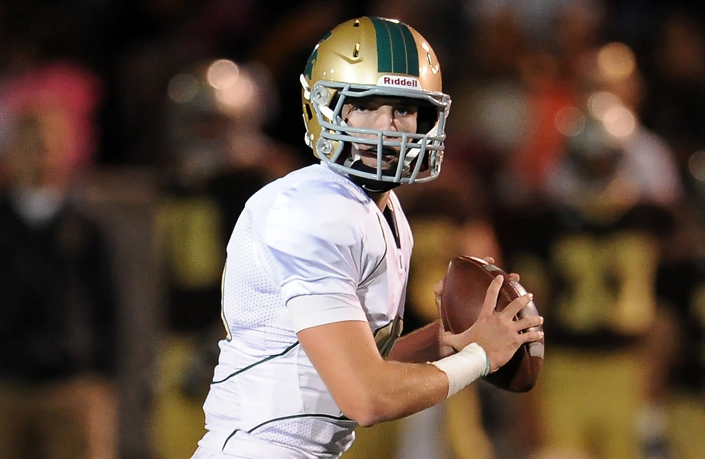 Description of . Damien quarterback Brendan Callen (16) passes against St. Francis in the first half of a prep football game at St. Francis High School in La Canada, Calif., Friday, Sept. 27, 2013.   (Keith Birmingham Pasadena Star-News)