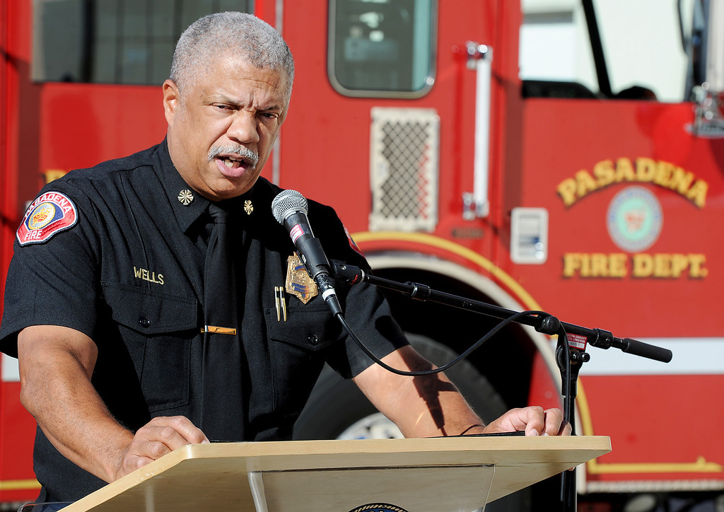 Description of . Pasadena Fire Chief Calvin Wells, discussing safety tips for the holidays, at Fire Station 33 in Pasadena Monday, November 25, 2013. (Photo by Walt Mancini/Pasadena Star-News.)