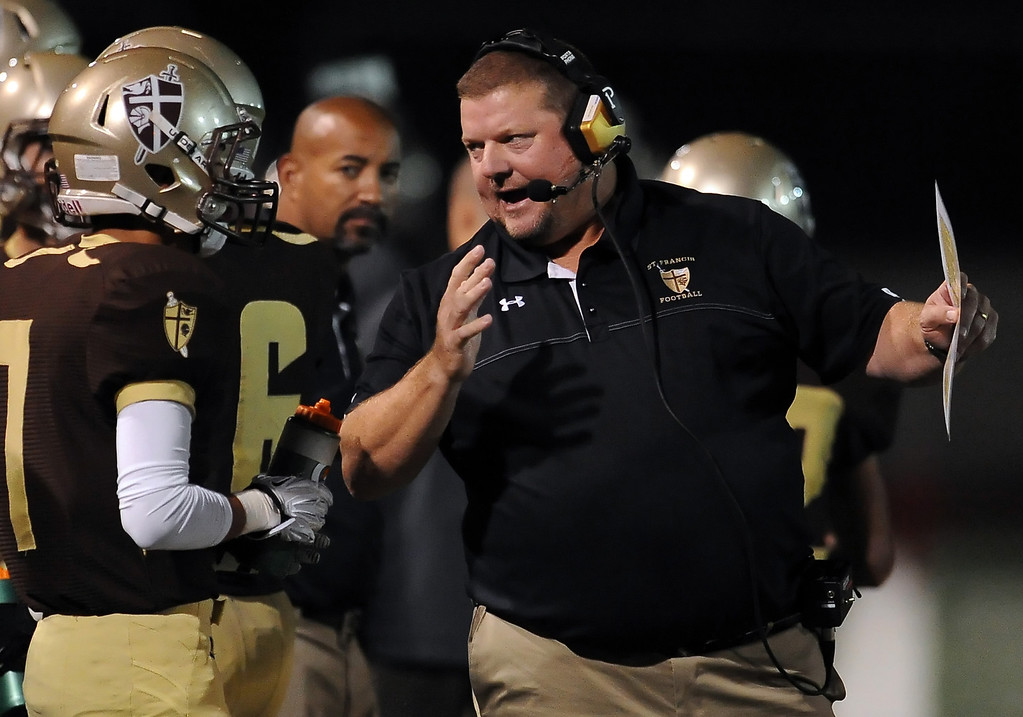 Description of . St. Francis head coach Jim Bonds in the first half of a prep football game against Damien at St. Francis High School in La Canada, Calif., Friday, Sept. 27, 2013.   (Keith Birmingham Pasadena Star-News)