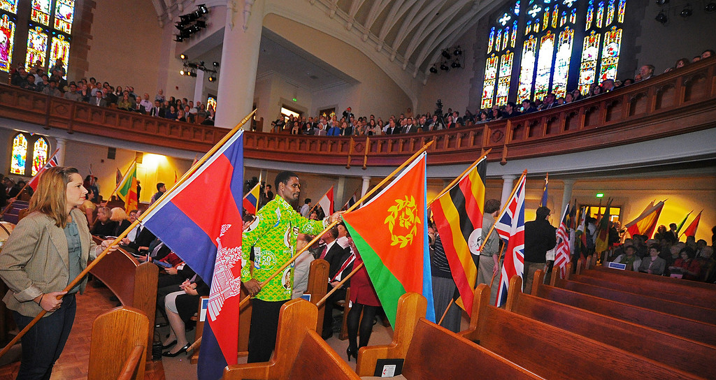 Description of . Fuller Around The World, A Festival of Flags is the start of the Fuller Theological Seminary celebration  the inauguration of its Fifth President, Mark Labberton, on Wednesday at First United Methodist Church in Pasadena Wednesday, November 6, 2013.(Photo by Walt Mancini/Pasadena Star-News)