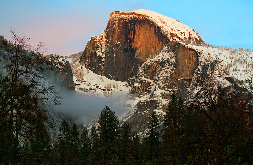Description of . Half Dome in Yosemite Valley. The granite crest of the dome rises  more than 4,737 feet above the Valley floor. (Photo by Walt Mancini)