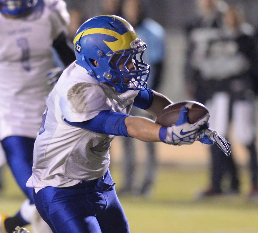 Description of . San Dimas running back Joseph Mayorga (#23) reaches for a touchdown as they pLay Arroyo in their CIF Semi-Final football game at Arroyo High School in El Monte on Friday November 29, 2013. (San gabriel Valley Tribune/Staff Photo by Keith Durflinger)