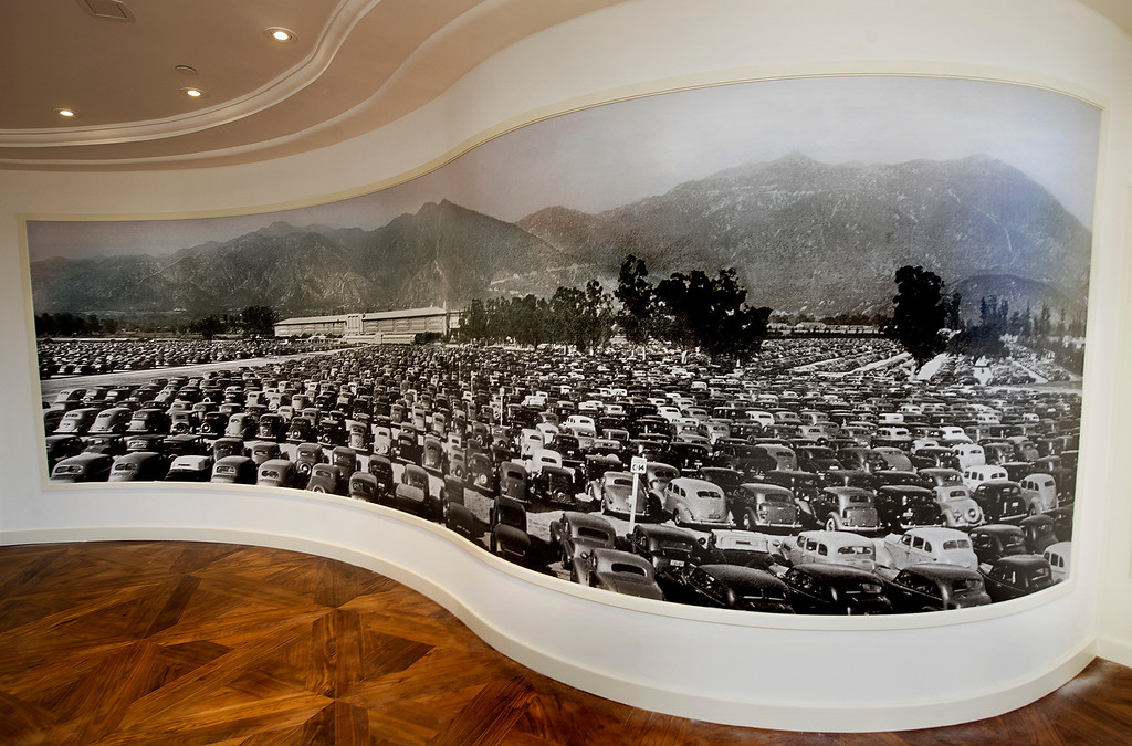 Description of . A large curved photo of Santa Anita Park in the entry way to the Chandelier Room with a full parking lot perhaps photographed in 1948.  Santa Anita Park  opening of 2013 Autumn Meet.  Santa Anita Park opens with new renovations to the park, including a remodeled clubhouse along the mezzanine, outdoor seating, new sports bar and balcony Friday, September 27, 2013.(Walt Mancini/Pasadena Star-News)