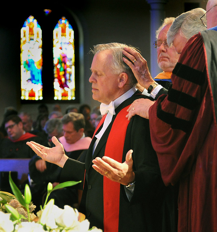 Description of . Anointing and Laying on of Hands with Prayer for the new President Mark Labberton. Fuller Theological Seminary celebrated the inauguration of its Fifth President, Mark Labberton, on Wednesday at First United Methodist Church in Pasadena Wednesday, November 6, 2013.(Photo by Walt Mancini/Pasadena Star-News)