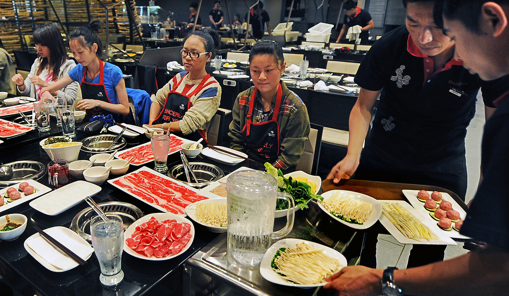 Description of . Hai Di Lao Hot Pot restaurant located at Westfield Santa Anita Mall in Arcadia, Tuesday, October 8, 2013. Hai Dai Lao Hot Pot first restaurant opening in the U.S. even though there are 95 Hai Di Lao Hot Pot restaurants in China.(Walt Mancini/Pasadena Star-News)