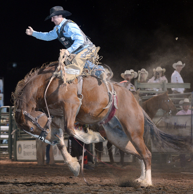 Description of . Action from the 14th annual P.R.C.A. San Bernardino County Sheriff's Rodeo in Devore, Calif. Saturday evening September 28, 2013.  (Will Lester/Inland Valley Daily Bulletin)