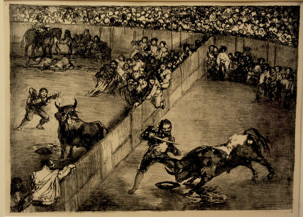 Description of . Goya's Bullfight in a Divided Ring, 1825 First editio Crayon lithograph with scraper