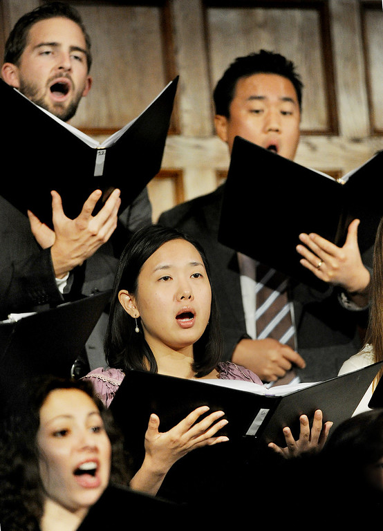 Description of . Choir singing at Inauguration as Fuller Theological Seminary celebrated the inauguration of its Fifth President, Mark Labberton, on Wednesday at First United Methodist Church in Pasadena Wednesday, November 6, 2013.(Photo by Walt Mancini/Pasadena Star-News)