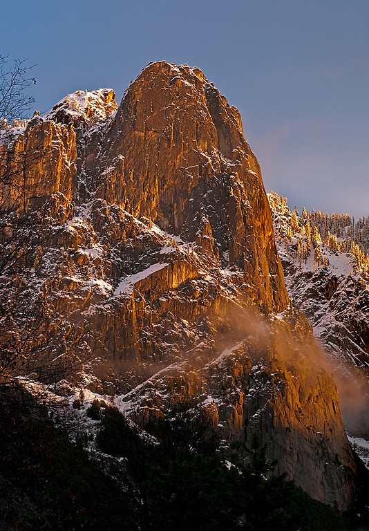 Description of . Sentinel Rock, overlooks Yosemite Valley, along the opposite side of the Valley From Yosemite Falls. (Photo by Gloria Fogler-Mancini)