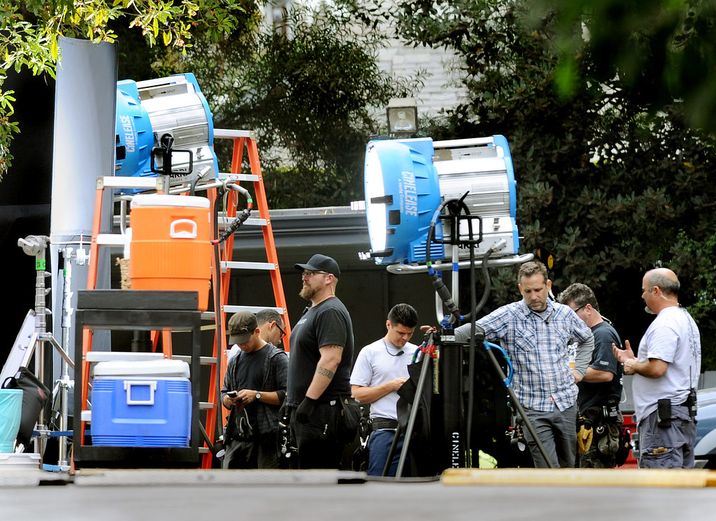 """Description of . Mad Men being filmed at the Cravens Estate, in Pasadena Tuesday, November 12, 2013. The headquarters of the San Gabriel Pomona Valley Chapter of the American Red Cross is the former Cravens Estate, Inspired by the Chateau Vaux-le-Vicomte in France, the estate is used extensively as a Hollywood """"backlot"""" for numerous feature movies and television shows(Photo by Walt Mancini/Pasadena Star-News)"""