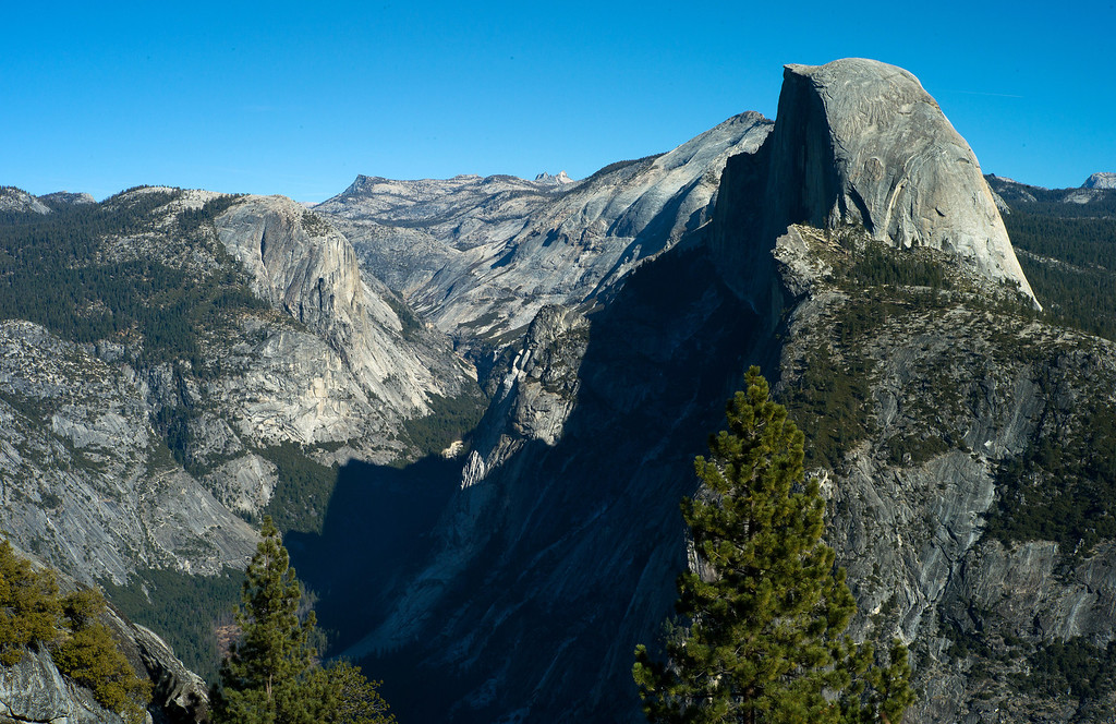 Description of . Half Dome overview from Glacier Point in Yosemite The granite crest of the dome rises  more than 4,737 feet above the Valley floor. (Photo by Gloria Fogler-Mancini)