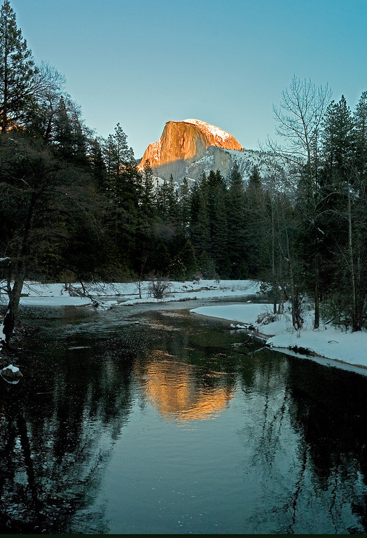 Description of . Half Dome in Yosemite Valley. The granite crest of the dome rises  more than 4,737 feet above the Valley floor. (Photo by Gloria Fogler-Mancini)