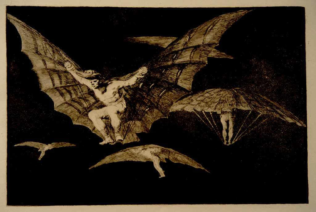 Description of . Goya's A Way of Flying: Where There's a Will, There's a Way, 1864 First edition Etching, burtnihed aquatint an drypoint (?)