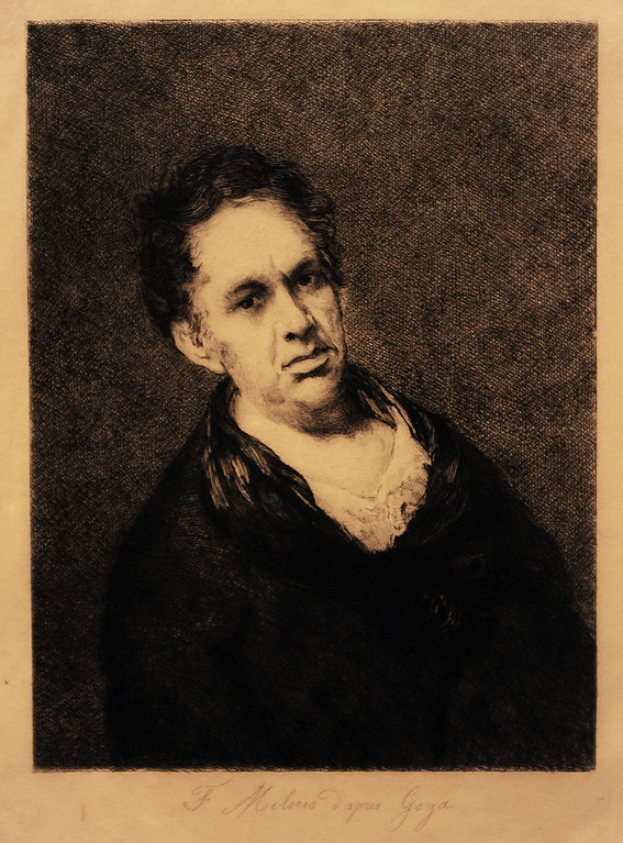Description of . Felix Augustin Milius (French, 1843-1894 ) After Self-Portrait by Goya (painted 1815), c. 1877 Etching and aquatint The Norton Simon Foundation.