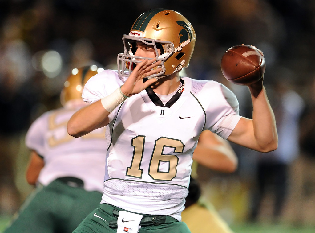. Damien quarterback Brendan Callen (16) passes against St. Francis in the first half of a prep football game at St. Francis High School in La Canada, Calif., Friday, Sept. 27, 2013.   (Keith Birmingham Pasadena Star-News)