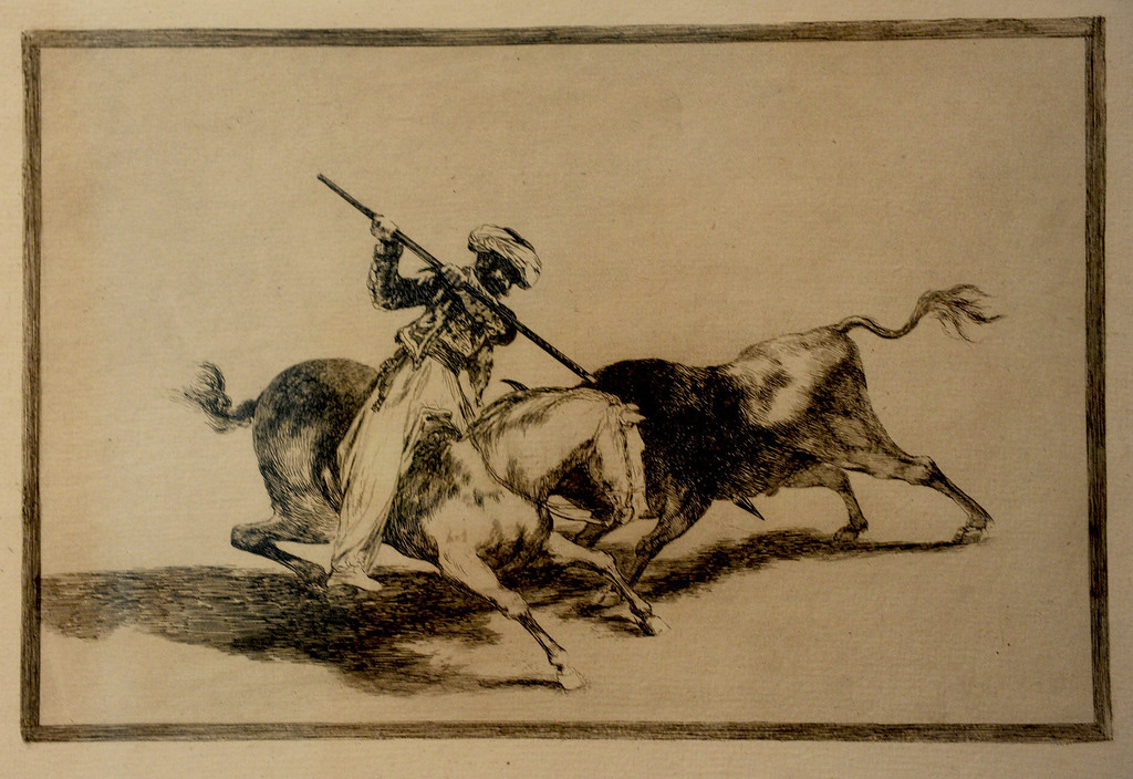 """. Goya\'s \""""The Spirited Moor Gazul is the First to Spear Bulls According to Rules, 1816 First edition Etching, burnished acquatint and drypoint"""