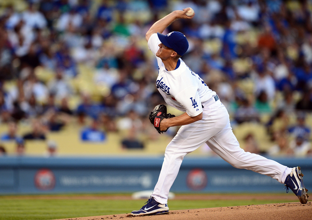 . Dodgers\' pitcher Zack Greinke #21 pitches to the Rockies\' during the first inning at Dodger Stadium Saturday, September 28, 2013. (Photo by Sarah Reingewirtz/Pasadena Star-News)