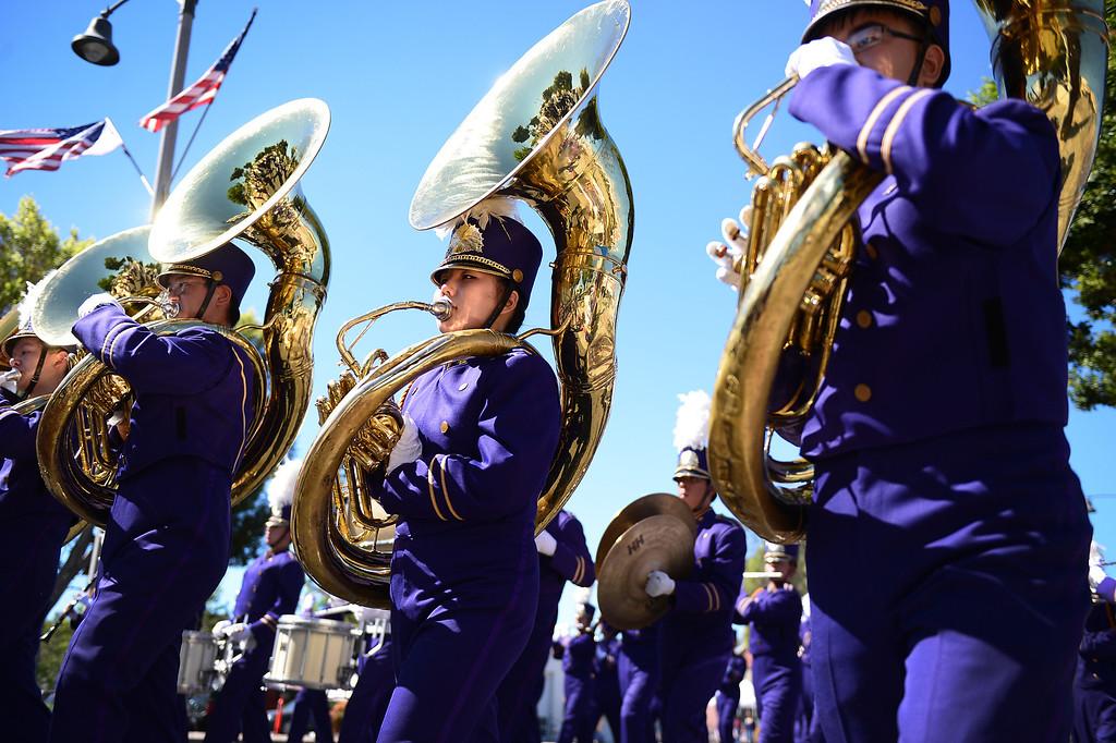 . Diamond Bar High School performs in City of Duarte\'s annual Route 66 Parade along Huntington Drive, on Saturday, September 28, 2013. (Photo by Sarah Reingewirtz/Pasadena Star-News)