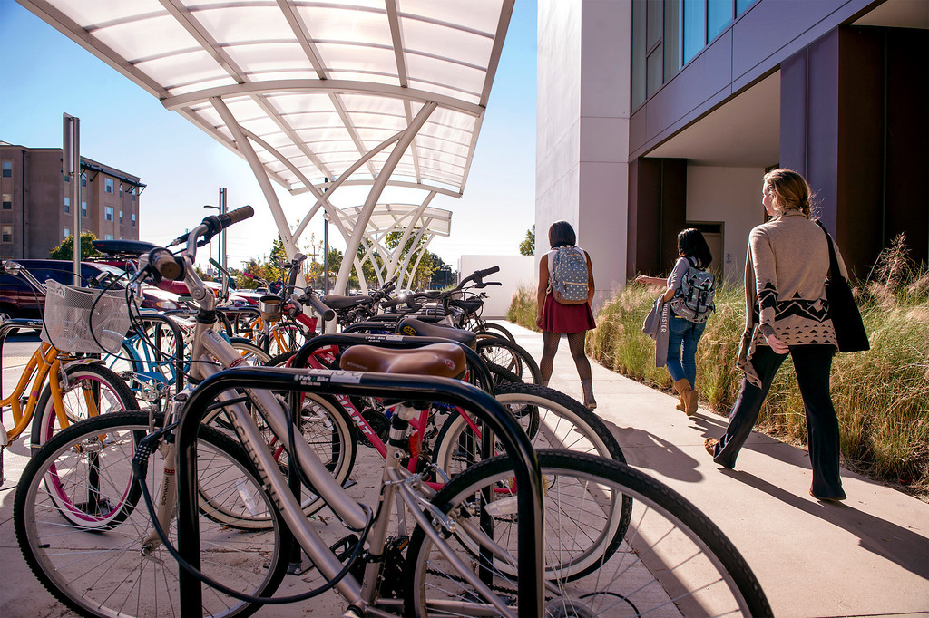 . The University of La Verne has received national accolades from several organizations for being a safe and bike-friendly campus.  Students are pictured at the La Verne, Calif. campus Nov. 25, 2013.  (Staff photo by Leo Jarzomb/San Gabriel Valley Tribune)