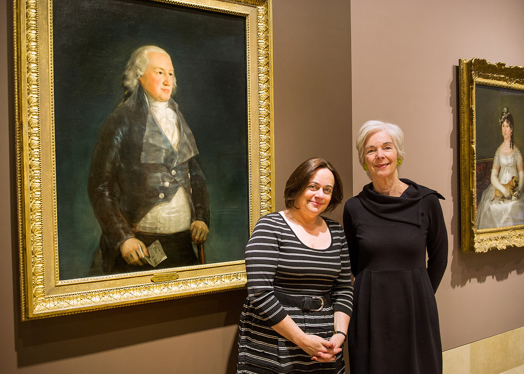 . Carol Togneri, left, Chief Curator at Norton Simon Museum with Susan Grace Galassi, Senior Curator at The Frick Collection with Francisco de Goya y Lucientes painting, Don Pedro, Duque de Osuna, left and will open to the public on December 6, 2013. Opening also includes Unfliching Vision: Goya\'s Rare Prints from the Norton Simon Museum December 6, 2013-March 3, 2014.(Photo by Walt Mancini/Pasadena Star-News)