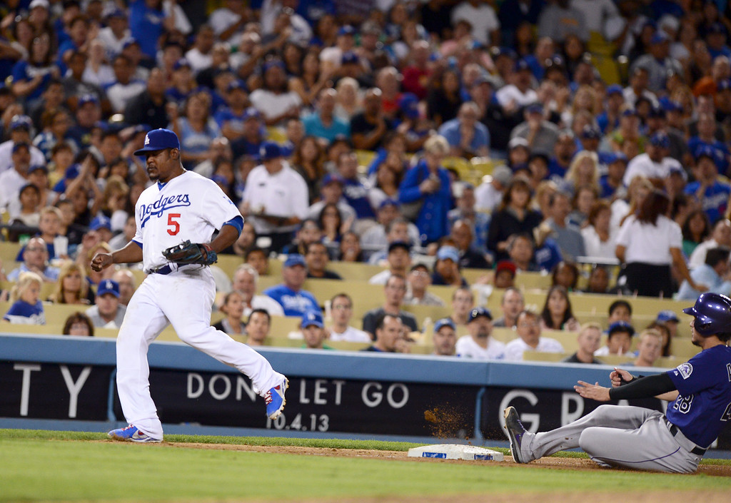 . Rockies defeated the Dodgers 1-0 at Dodger Stadium Saturday night, September 28, 2013. (Photo by Sarah Reingewirtz/Pasadena Star-News)