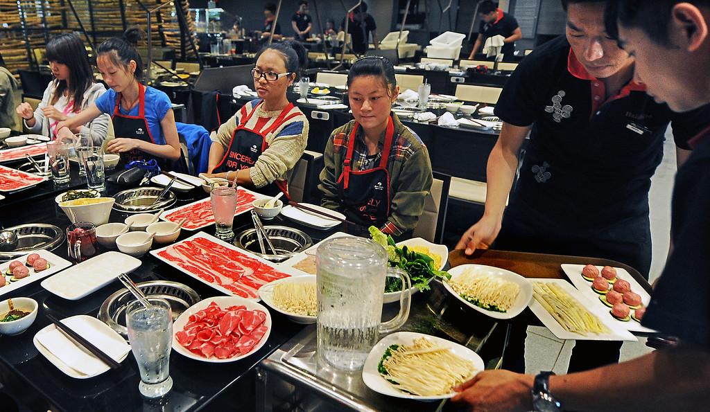 . Hai Di Lao Hot Pot restaurant located at Westfield Santa Anita Mall in Arcadia, Tuesday, October 8, 2013. Hai Dai Lao Hot Pot first restaurant opening in the U.S. even though there are 95 Hai Di Lao Hot Pot restaurants in China.(Walt Mancini/Pasadena Star-News)