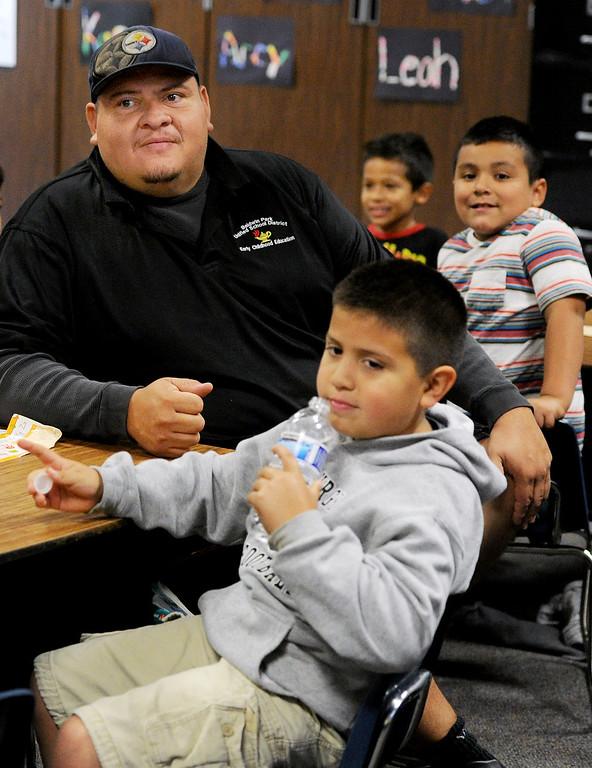 ". Ruben Loya accompanied his son, Shawn Loya to school at Elwin Elementary School in Baldwin Park. Elwin Elementary hosted, \""Bring Your Dad toSchool\"" Day Wednesday, October 2, 2013.(Walt Mancini/Pasadena Star-News)"
