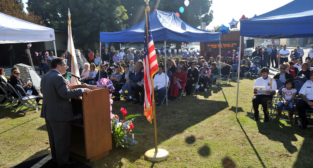 . Mayor Andre Quintero speaks during the Veterans Day Celebration at El Monte City Hall on Monday November 11, 2013. Veterans are honored with speeches and music and a flag ceremony. (San Gabriel Valley Tribune/Staff Photo by Keith Durflinger)