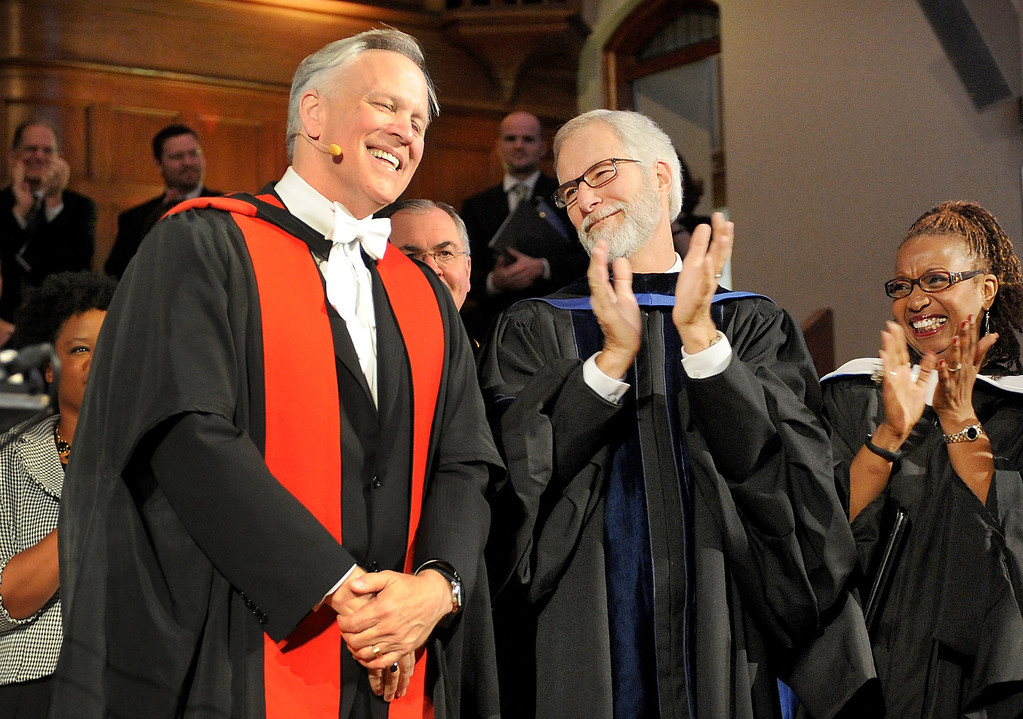 . Mark Labberton, receiving congratulations after Act of Inauguration as Fuller Theological Seminary celebrated the inauguration of its Fifth President, Mark Labberton, on Wednesday at First United Methodist Church in Pasadena Wednesday, November 6, 2013.(Photo by Walt Mancini/Pasadena Star-News)