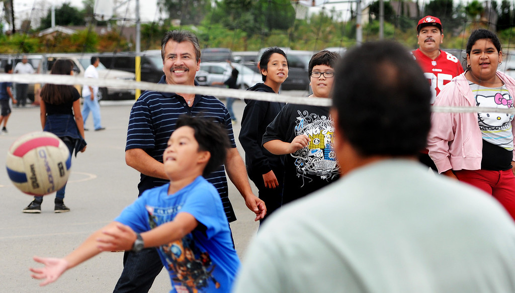 """. Parents played volleyball with their children at Elwin Elementary School in Baldwin Park host, \""""Bring Your Dad to School\"""" Day Wednesday, October 2, 2013.(Walt Mancini/San Gabriel Valley Tribune)"""
