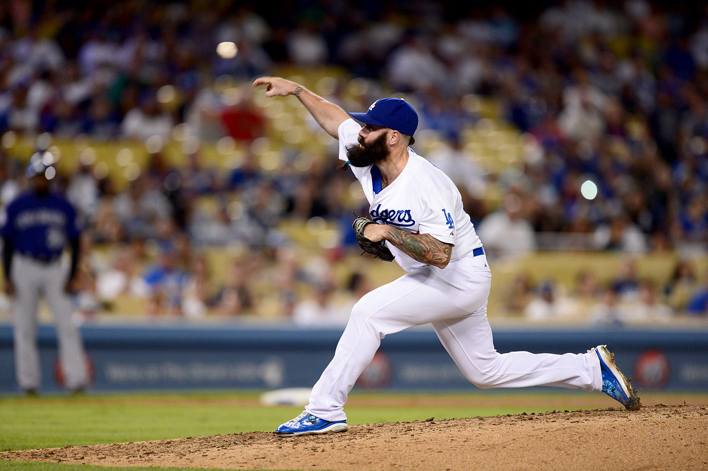 . Dodgers\' Brian Wilson pitches to the Rockies during at Dodger Stadium Saturday, September 28, 2013. (Photo by Sarah Reingewirtz/Pasadena Star-News)
